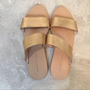 Loeffler Randall Gold Slide Sandals